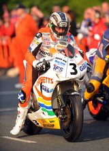 Thumbnail of John McGuinness gets ready to start the first practice session of the 2008 TT
