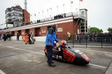 Thumbnail of Sidecar star Nick Crowe ready to leave the Grandstand for the third practice session of the 2008 TT