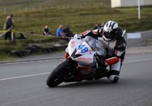 Thumbnail of Michael Dunlop rides his Supersport machine in the Thursday evening practice session at the 2008 TT