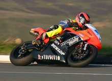 Thumbnail of Ryan Farquhar rounds the Bungalow during practice for the TT in 2008