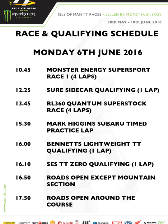 Monday Race Schedule