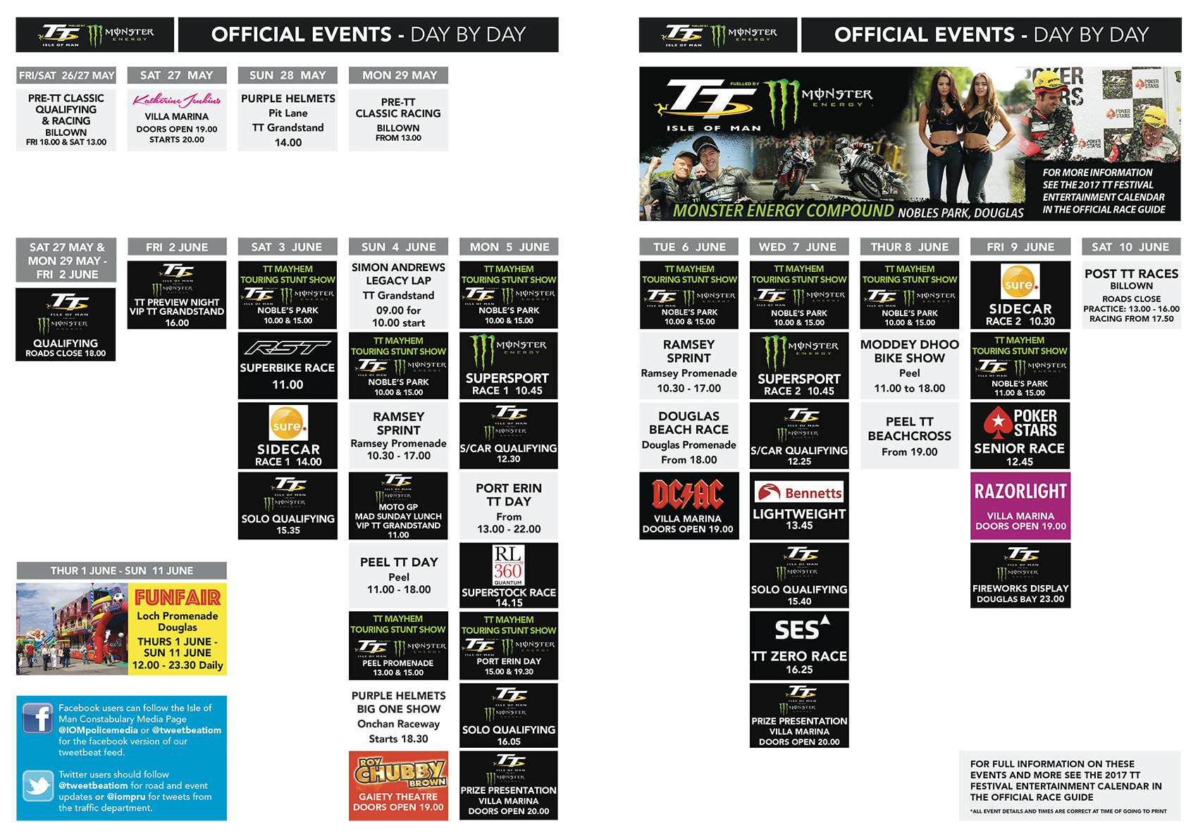TT 2017 Entertainment Schedule