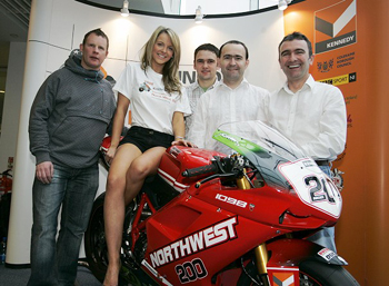 Robert Dunlop (right) at the launch of the North West 200 in January (Alan Armstrong)
