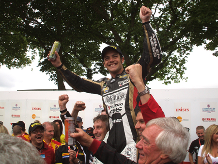 Cameron Donald celebrates Isle of Man TT victory