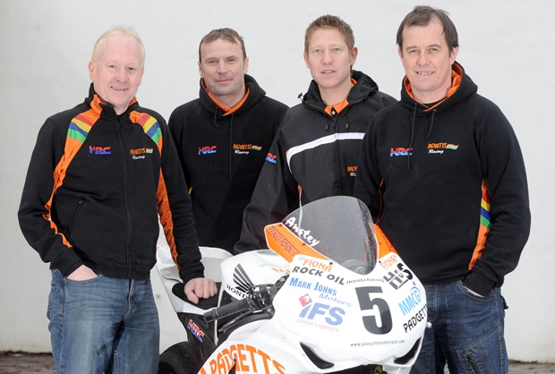 The Padgetts team for the 2012 Isle of Man TT (from left) Clive Padgett, Bruce Anstey, Gary Johnson and John McGuinness
