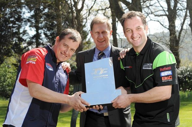 John McGuinness, SES Managing Director Mark Guthrie and Michael Rutter