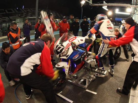 The Honda TT Legends during an endurance race pit stop