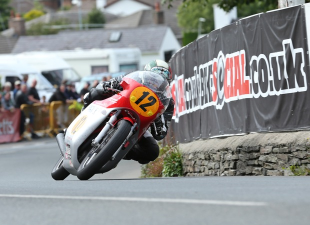 Dean Harrison takes Ginger Hall at speed on the Black Eagle Racing MV Agusta triple. Credit Dave Kneen