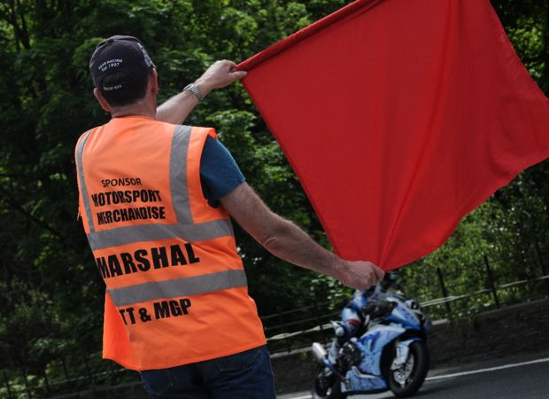 Red flag being displayed at TT.