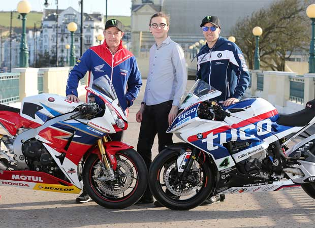 Pictured Big Ben Interactive representative Regis Fontenay with John McGuinness and Ian Hutchinson on the Isle of Man at the launch of the 2016 Isle of Man TT Races fuelled by Monster Energy