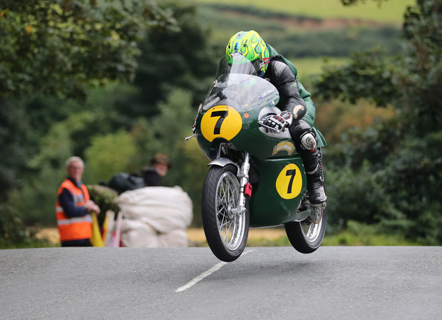 Cameron Donald on the Egli-Vincent at Ballaugh Bridge on Tuesday. Photo credit: Dave Kneen / Manxphotosonline