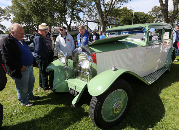 Visitors admire an entry in the 2015 Concours d'elegance