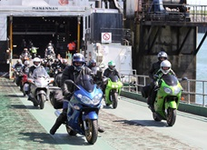 Bikes and passengers leave the Steam Packet Company's fast craft Manannan during the 2016 Festival of Motorcycling  Photo credit: Dave Kneen / Manxphotosonline
