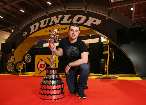 Michael Dunlop with the Senior TT trophy - with 13 TT wins and the current (2016) absolute lap record, Michael is one of the most successful TT riders ever