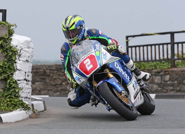 Ivan Lintin in action at the Billow Circuit on the Devitt Insurance backed ZXR 750 Kawasaki he'll race at the Classic TT presented by Bennetts
