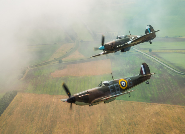 Spitfire and Hurricane of the RAF's Battle of Britain Memorial Flight in formation over Lincolnshire.