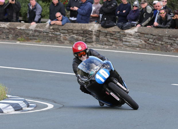 Bill Swallow in action at the Classic TT on a Walmsley Racing 350cc machine