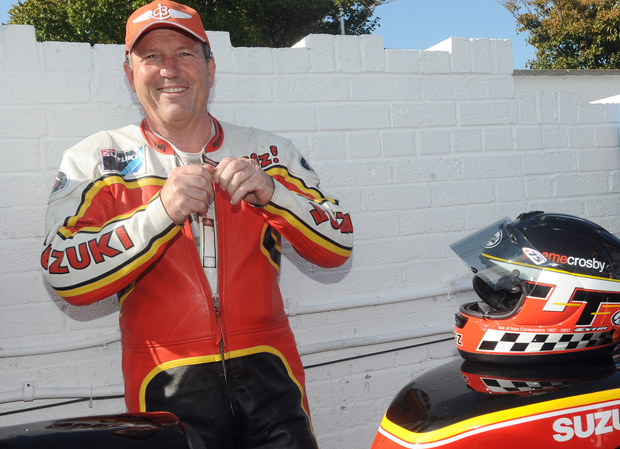 Graeme Crosby at the Classic TT for the Joey Dunlop Rivals parade lap