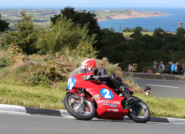 Michael Ruter on the Ripley Land Racing 350cc Drixton Honda twin at the Gooseneck