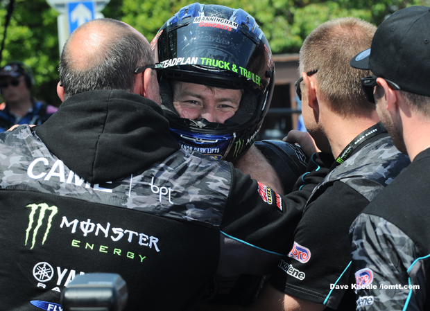 Ian Hutchinson is congratulated on winning Supersport Race 1