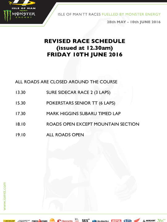 12:45 revision of Friday race schedule