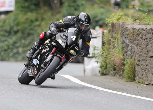 Dave Kneen: Billy Redmayne on the Martin Bullock Motorsport Honda CBR600RR at Union Mills during the Mylchreests Group Junior Manx Grand Prix race.
