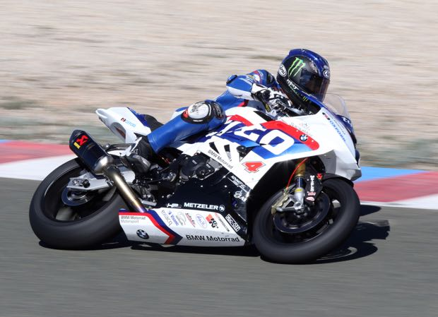 Ian Hutchinson's first ride on the Tyco BMW S 1000 R Superstock machine
