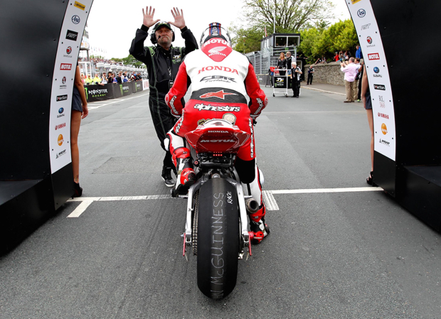 John McGuinness awaits the start of the 2015 Senior TT