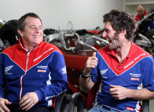 John McGuinness and Guy Martin in Honda colours