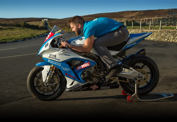 Jamie Coward tries out the Radcliffe's Racing Superstock for size at the Creg-ny-Baa