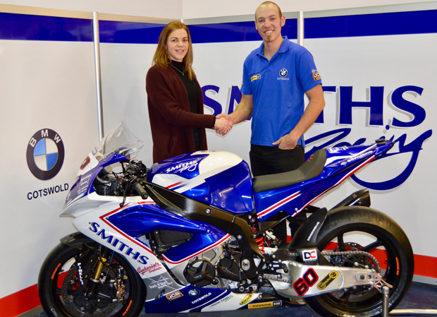 Team Manager Rebecca Smith shakes on the deal with new signing Peter Hickman