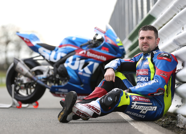 Michael Dunlop with the Bennetts Suzuki GSX-R1000R he'll campaign at TT 2017