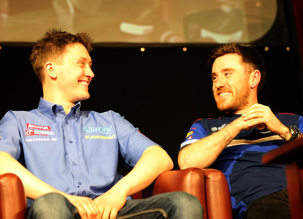 Dean Harrison and Lee Johnston share a joke at TT Launch Party 2016