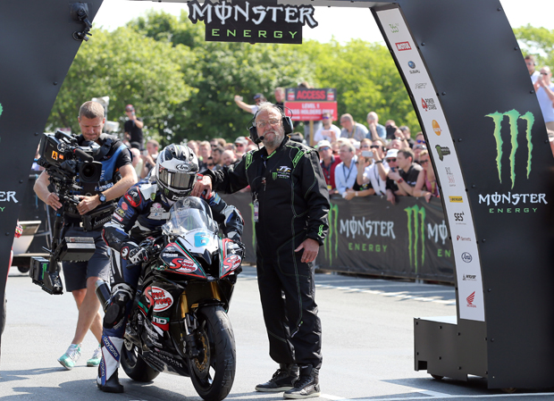 Michael Dunlop about to start the Monster Energy Supersport TT Race
