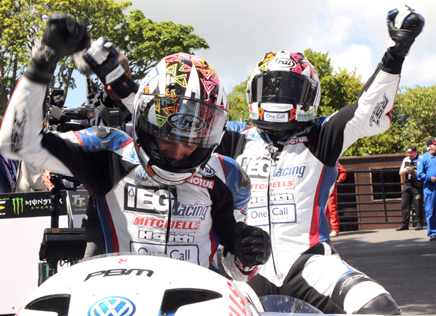 Ben and Tom Birchall celebrate win number six at the Isle of Man TT - and wrapping up the 2017 Isle of Man TT Sidecar Championship
