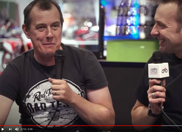 John McGuinness talks with Steve Plater at Motorcycle Live