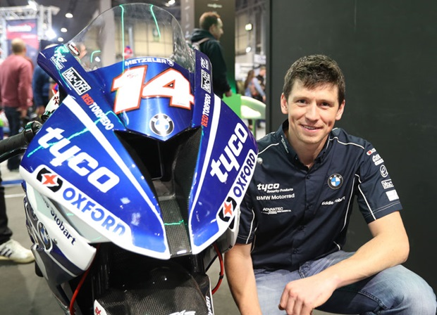 Dan Kneen at Motorcycle Live with the Superstock he will ride for Tyco BMW at the 2018 Isle of Man TT Races. Photo Dave Kneen