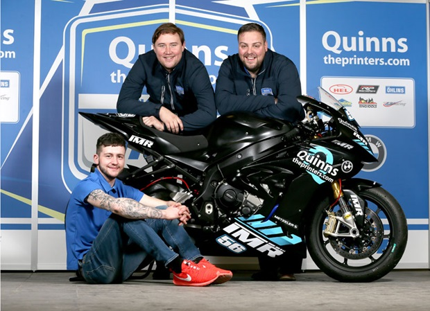 Adam McLean (left) with Peter Bradley, Managing Director of quinnstheprinters.com and Ian Moffit, Team Principal of quinnstheprinters.com by Team IMR
