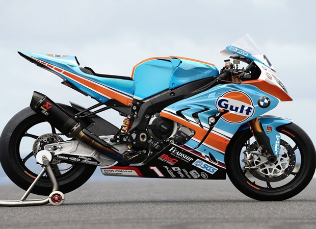 Gulf BMW Road Racing Team bike for TT 2018, an ex-Works BMW World Superbike machine