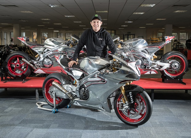 John McGuinness poses with the Norton V4-RR based superbike he's intending to race at TT 2018