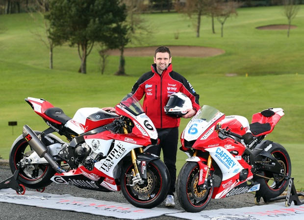 William Dunlop with the Temple Golf Course Yamahas he'll ride at this year's Isle of Man TT Races