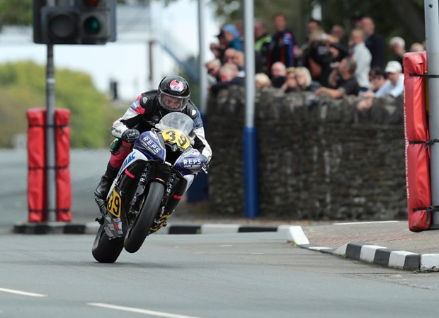 Rhys Hardisty at St Ninian's crossroads during the Senior Manx Grand Prix race. PICTURE BY DAVE KNEEN