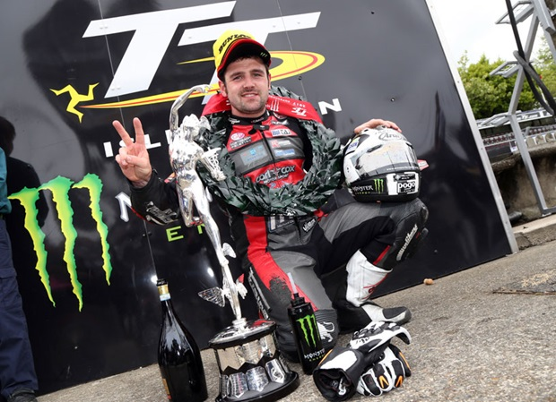 Michael Dunlop with the winner's trophy from the 2017 Monster Energy Supersport TT Race.