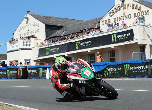 Derek McGee on the IEG/KMR Kawasaki at Creg ny Baa during the Bennetts Lightweight TT Race. Photo: Dave Kneen / Pacemaker Press Intl