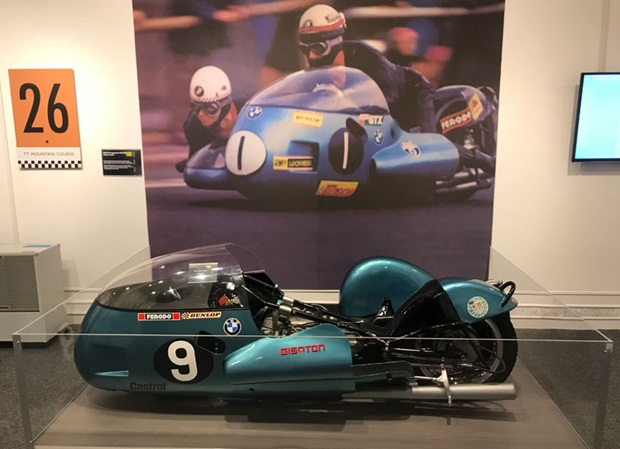 BMW Renngespann RS54 sidecar outfit – This outfit, ridden by Georg Auerbacher with passenger Hermann Hahn, won the 1971 750cc sidecar TT.  Auerbacher also completed on it in 1972, when he crashed and was injured.