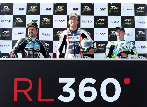 A podium of recordbreakers: Michael Dunlop (2nd RL360º Superstock TT Race) set a new lap record in Monday's Monster Energy Supersport TT Race 1; Peter Hickman (1st RL360º Superstock TT Race) set a new lap and race record in Monday's RL360º Superstock TT Race); Dean Harrison (3rd Superstock TT Race) set a new absolute lap record in Saturday's RST Superbike TT Race and became the first rider to lap at 134+mph