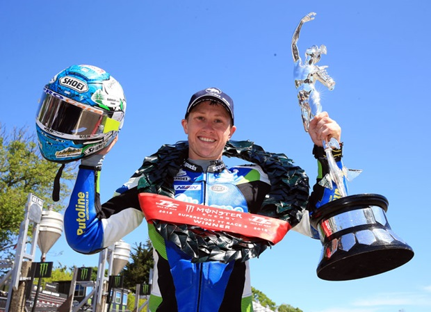 Dean Harrison, winner of the Monster Energy Supersport TT Race at Isle of Man TT 2018. Photo: Stephen Davison / Pacemaker Press Intl. / Isle of Man TT