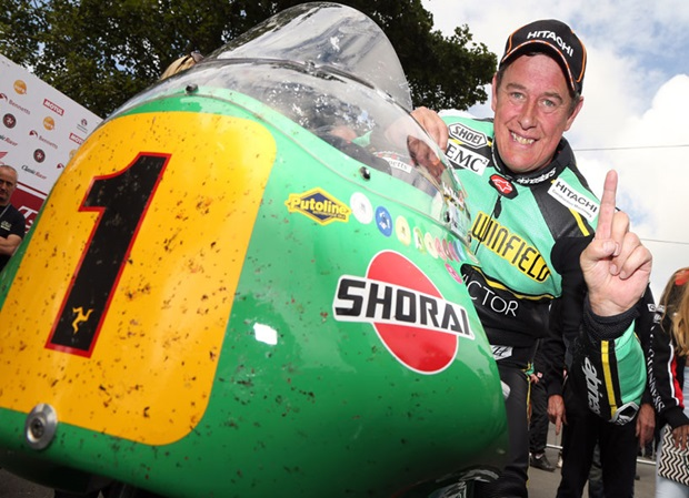 John McGuinness in the winners enclosure following the 2016 Senior Classic TT Race