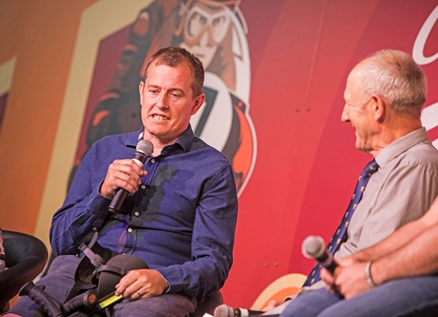 John McGuinness chats to Charlie Williams at the 2017 RST Classic TT Heroes Dinner. Photo: Jonathan Cole Photography Ltd / Isle of Man TT