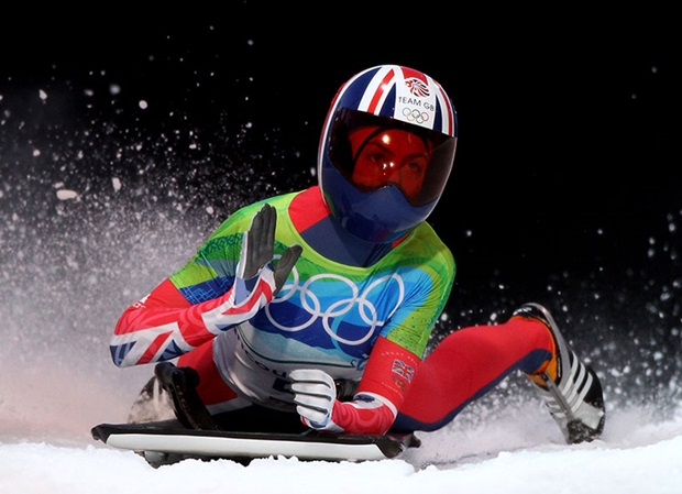 Amy Williams finishes her winning run at the 2010 Winter Olympics.